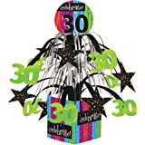 Creative Converting Party Decoration Metallic Foil Cascading Centerpiece, Milestone Celebrations 30th