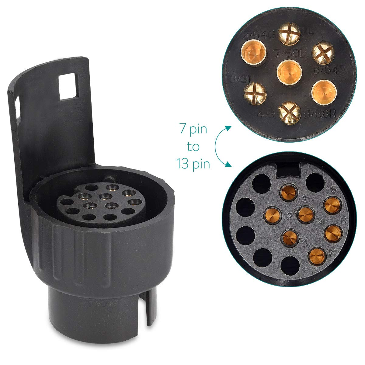 Convert 7 Pin to 13 Pin for Light 12V Adapter for Car Trailer Caravan Truck Towbar Socket Navaris Trailer Adapter 7 Pin to 13 Pin Black Power