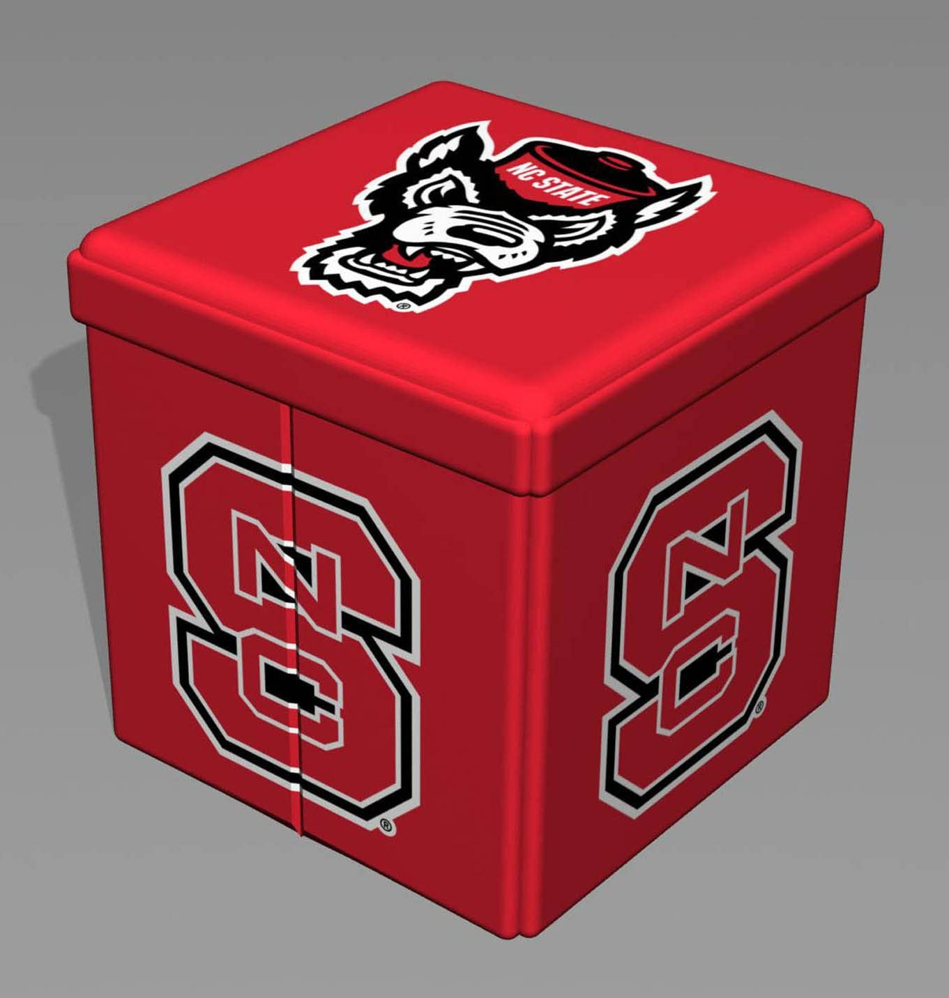 NC State Small Storage Ottoman – Fully Collapsible