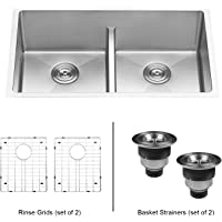ruvati 30 inch low divide undermount tight radius 5050 double bowl 16 - Double Kitchen Sink