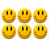 SET OF 6 NOVELTY YELLOW SMILEY HAPPY FACE FRIDGE MAGNETS 3CM GIFT,HOME,KITCHEN