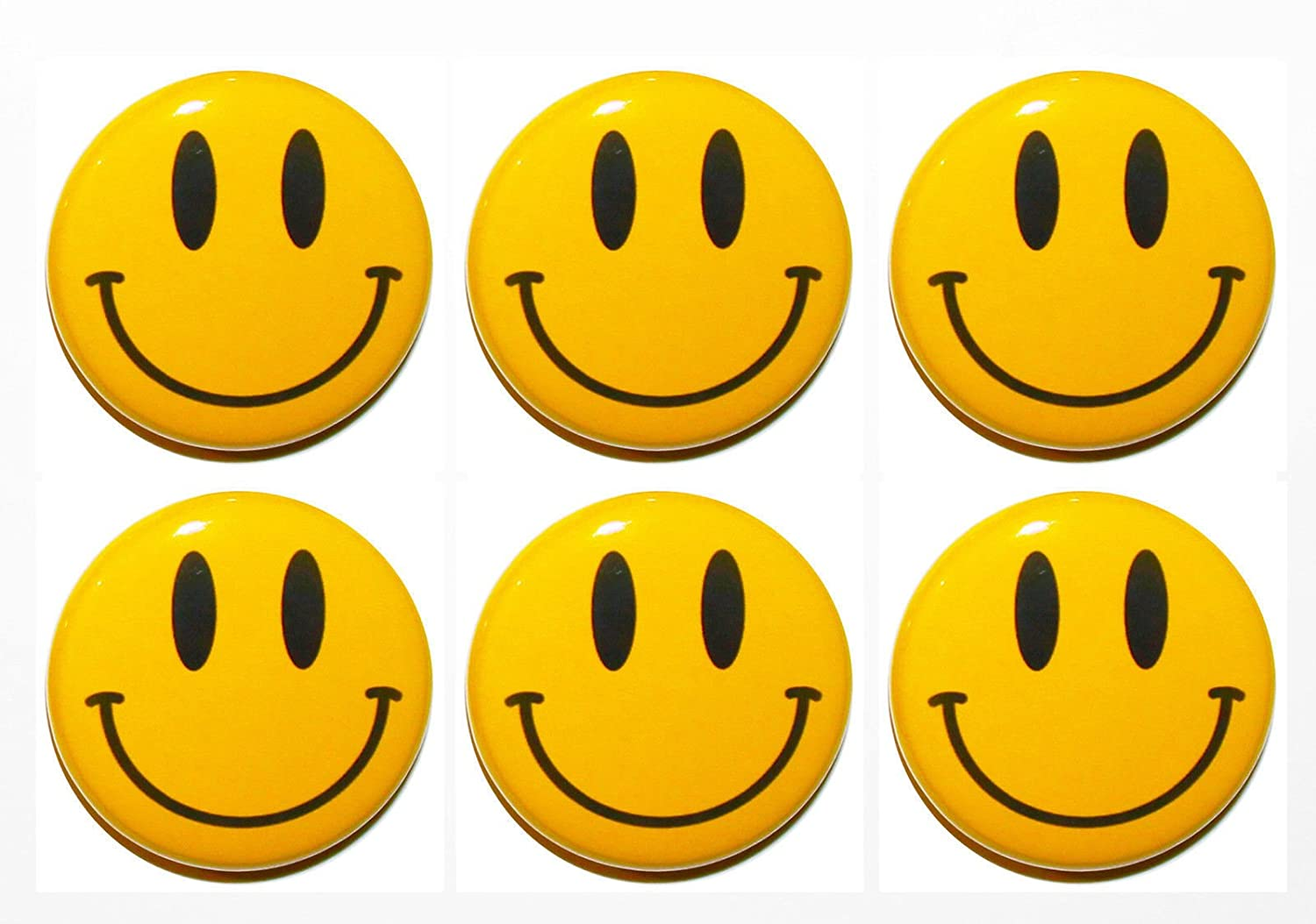 SET OF 6 NOVELTY YELLOW SMILEY HAPPY FACE FRIDGE MAGNETS 3CM GIFT,HOME,KITCHEN SMILEY FACE MAGNET