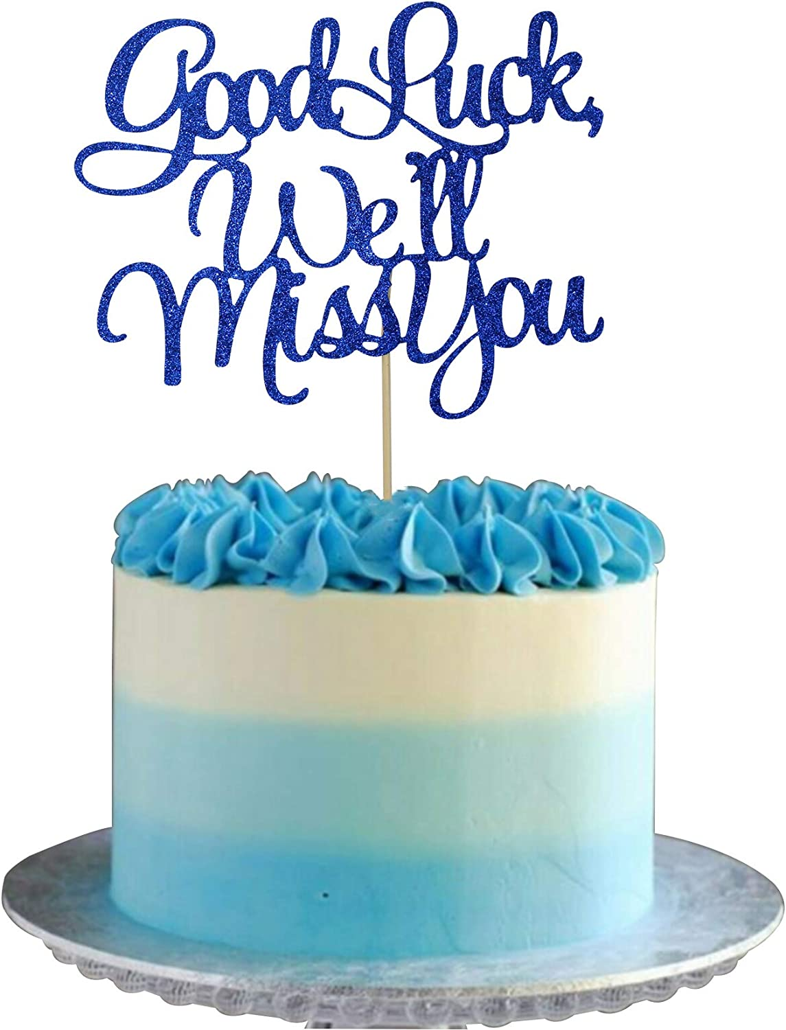 Retirement Cake Topper Blue Well Miss U Farewell Party Decoration Retirement Party Decorations Farewell Cake Topper Starsgarden Blue Good Luck,Well Miss You Cake Topper