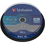 Verbatim 43742 BD-R Single Layer 6x 25 Go Couche protectrice Hard Coat Pack Spindle Blanc/Bleu