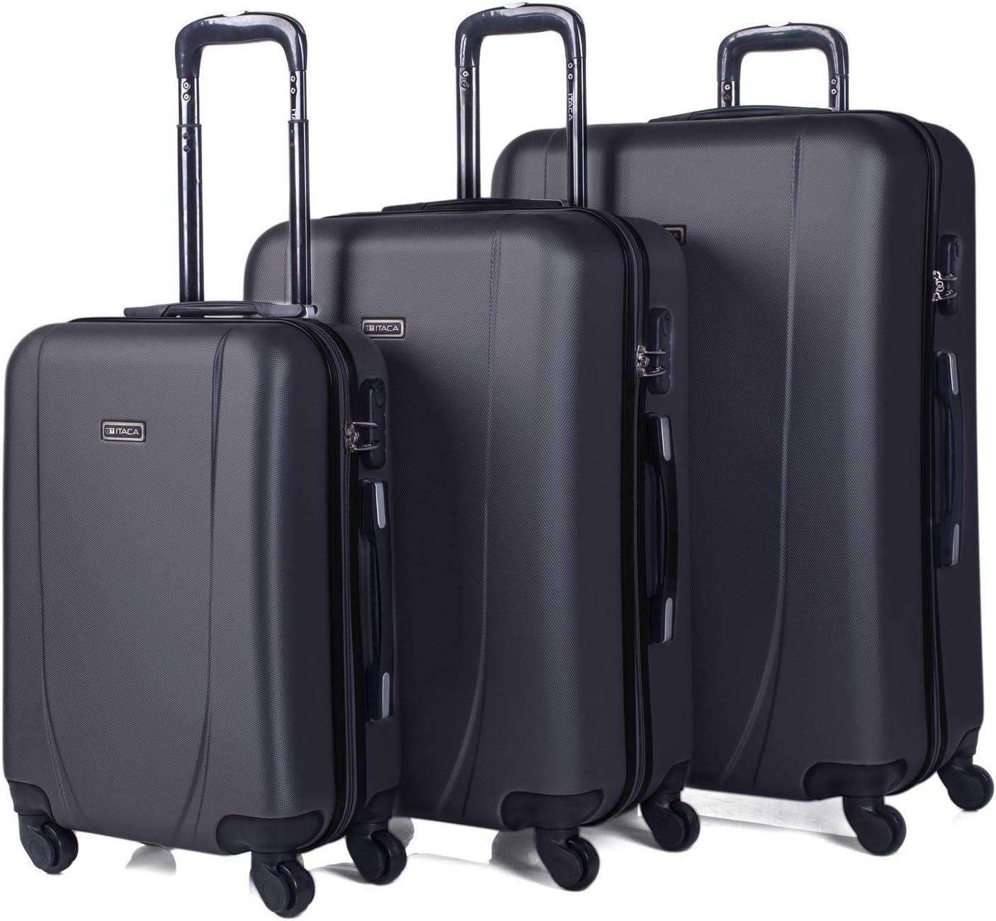 ITACA - Juego de Maletas de Viaje Rígidas 4 Ruedas Trolley 55/65/75 cm ABS. Buenas Cómodas y Ligeras. Candado. Grande Mediana y Pequeña Cabina Ryanair. 71100, Color Antracita