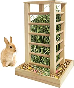 kathson Wooden Hay Feeder Rabbit Less Waste Food Feeding Rack Standing Pet-self Feeding Hay Manager Grass Holder Small Animals Cage Accessories for Bunny Guinea Pig Chinchilla