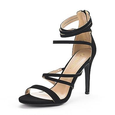 e34ebb49c61 DREAM PAIRS Women s Show Black Nubuck High Heel Dress Pump Sandals - 5 ...