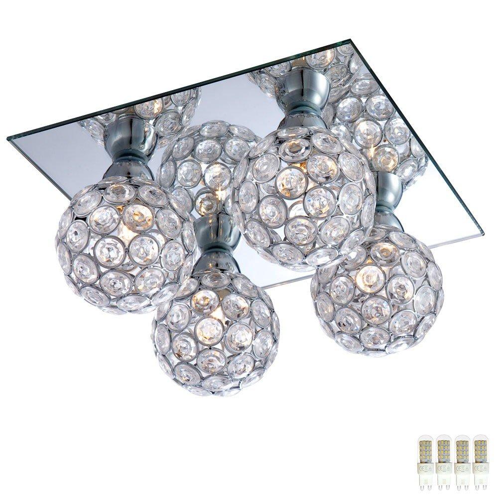 Decken Lampe Wohnraum Beleuchtung Kristall Kugel Chrom EEK A++ im Set inklusive LED Leuchtmittel