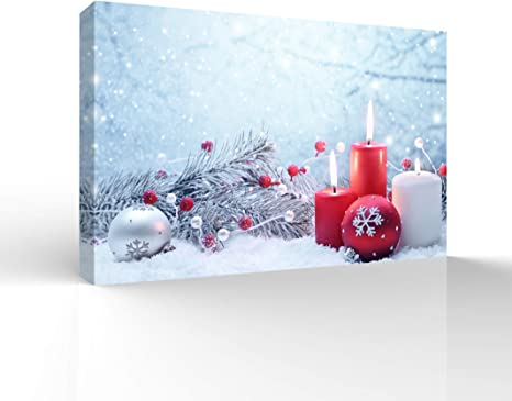 Amazon Com Wall26 Canvas Wall Art Merry Christmas Pictures Home Decorations For Bedroom Living Room Paintings Prints Framed 32x48 Inches Posters
