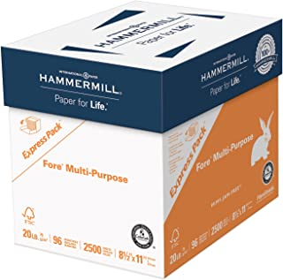 product image for Hammermill Printer Paper, Fore Multipurpose 20 lb Copy Paper, 8.5 x 11 - Express Pack (2,500 Sheets) - 96 Bright, Made in the USA
