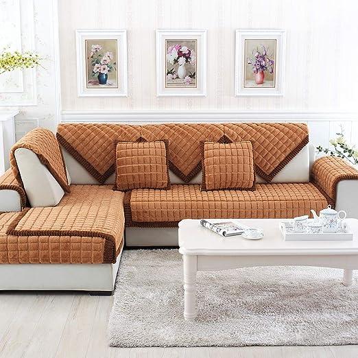 YMCHE - Cojines Largos de Felpa marrón para sofá o sofá ...