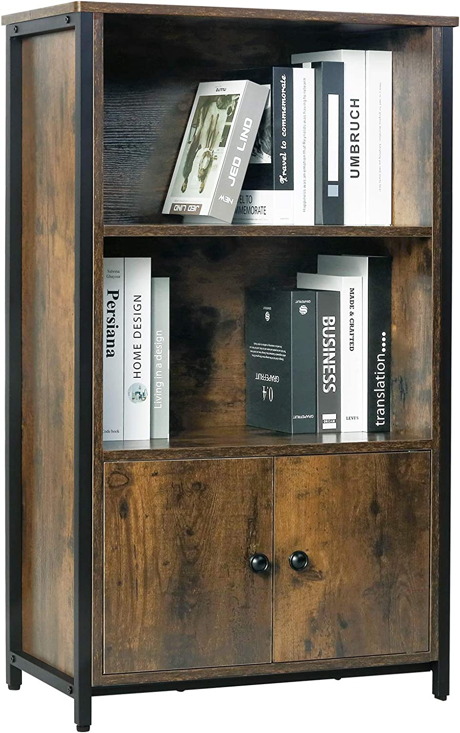 Kamiler Retro Bookcase, 3-Tier Bookshelf with Doors, Storage Cabinet for Books, Photos, Decorations, in Living Room, Office, Library, Mid-Century Modern Style, Sturdy Metal Frame, Rustic Brown