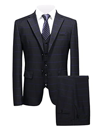38d8c04dd3d7f MOGU Mens 2 Button Slim Fit 3 Piece Blue Plaid Suits Blazer+Pants+Vest