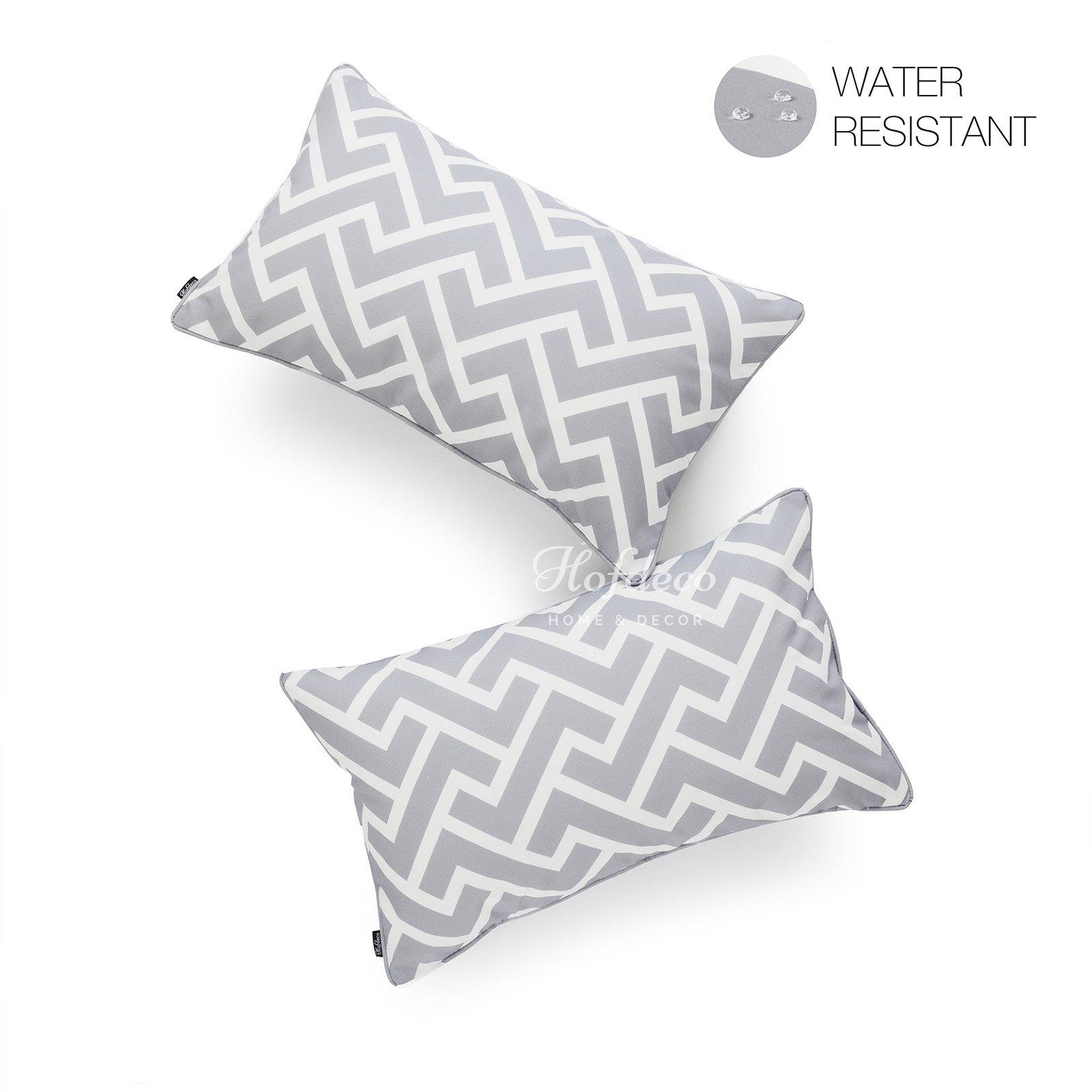 Hofdeco Decorative Lumbar Pillow Cover INDOOR OUTDOOR WATER RESISTANT Canvas Modern Grey City Maze 12''x20'' Set of 2