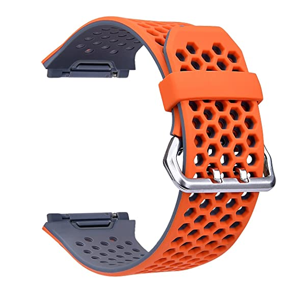 For Fitbit Ionic Band,TOROTOP Lightweight Ventilate Silicone Perforated Accessory Sport Bands for Fitbit Ionic (Orange/Grey, Large)