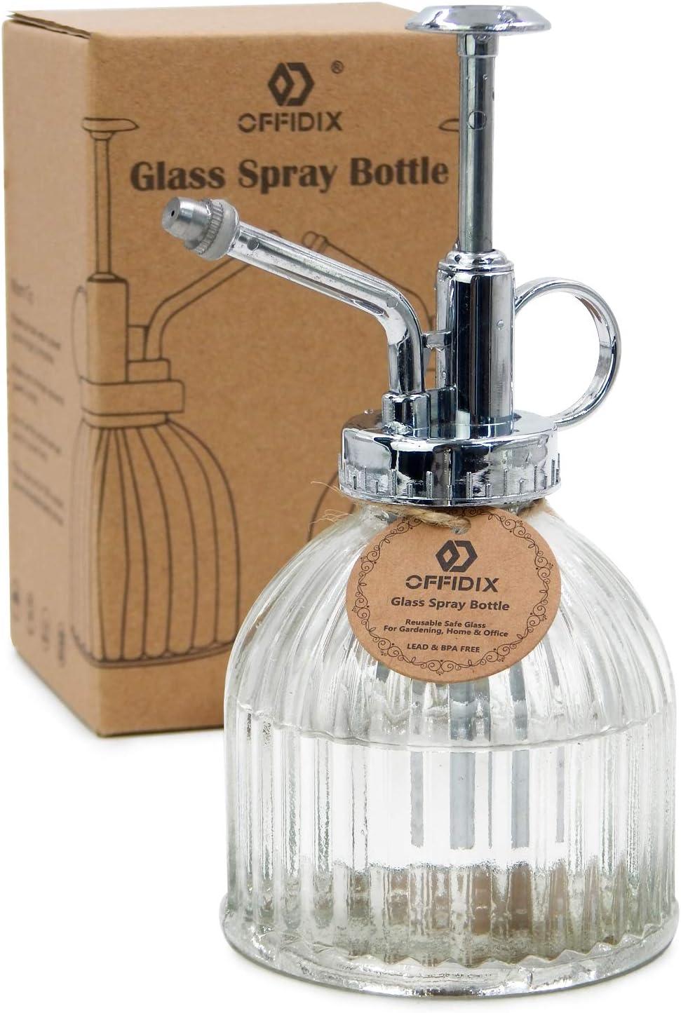 OFFIDIX Transparente Botella de riego de Vidrio de riego, 6.5 Pulgadas Tall Vintage Estilo Spritzer con plástico de Bronce Top Pump Una Mano riego