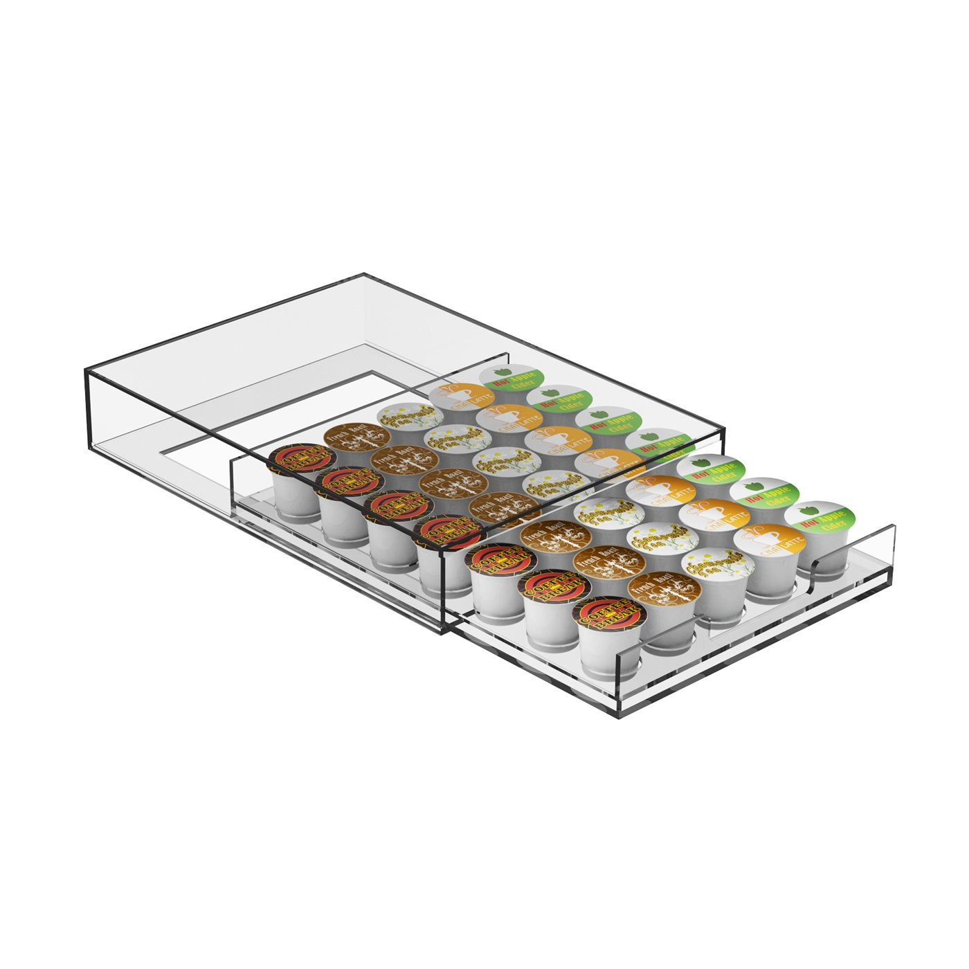 Mind Reader Plexus Single Serve Coffee Pod Storage Drawer, 35 Capacity, Clear