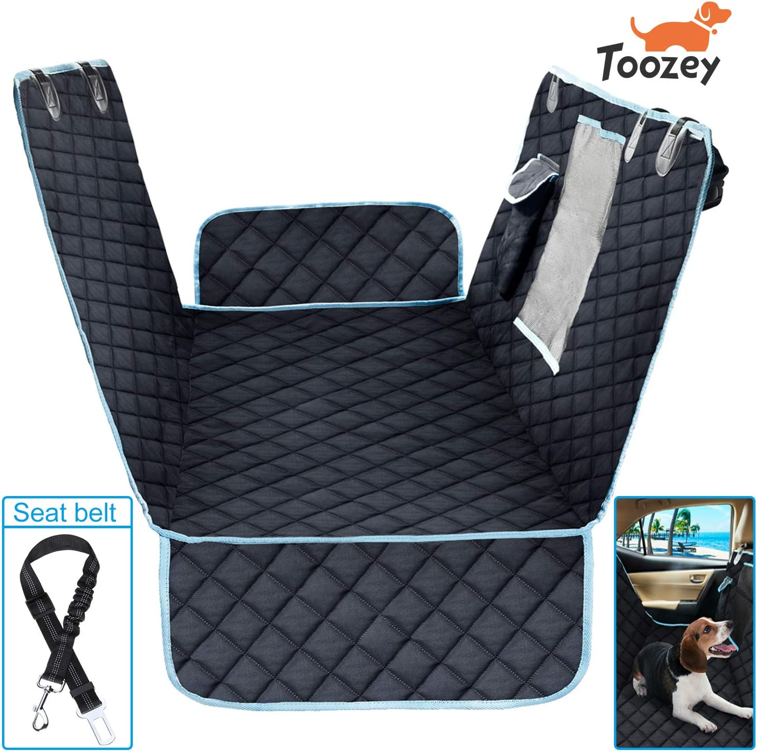 Toozey Waterproof Dog Car Seat Covers, Durable Scratch Proof Soft Dog Seat Cover for Back Seat with Side Flaps, Slip-Resistant Machine Washable, Compatible for for Cars Trucks and SUV