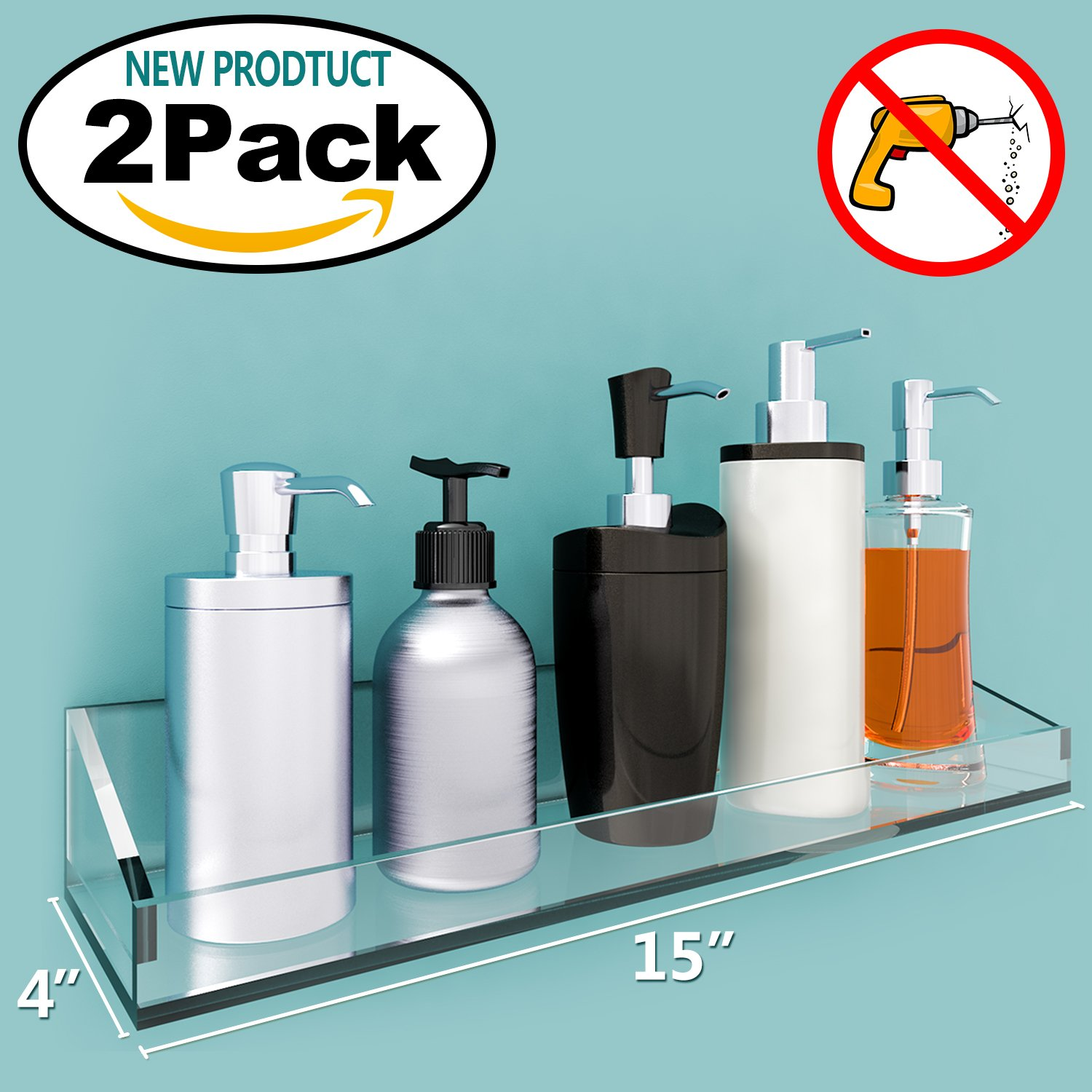 VDOMUS Acrylic Bathroom Shelves, Wall Mounted Non Drilling Thick ...