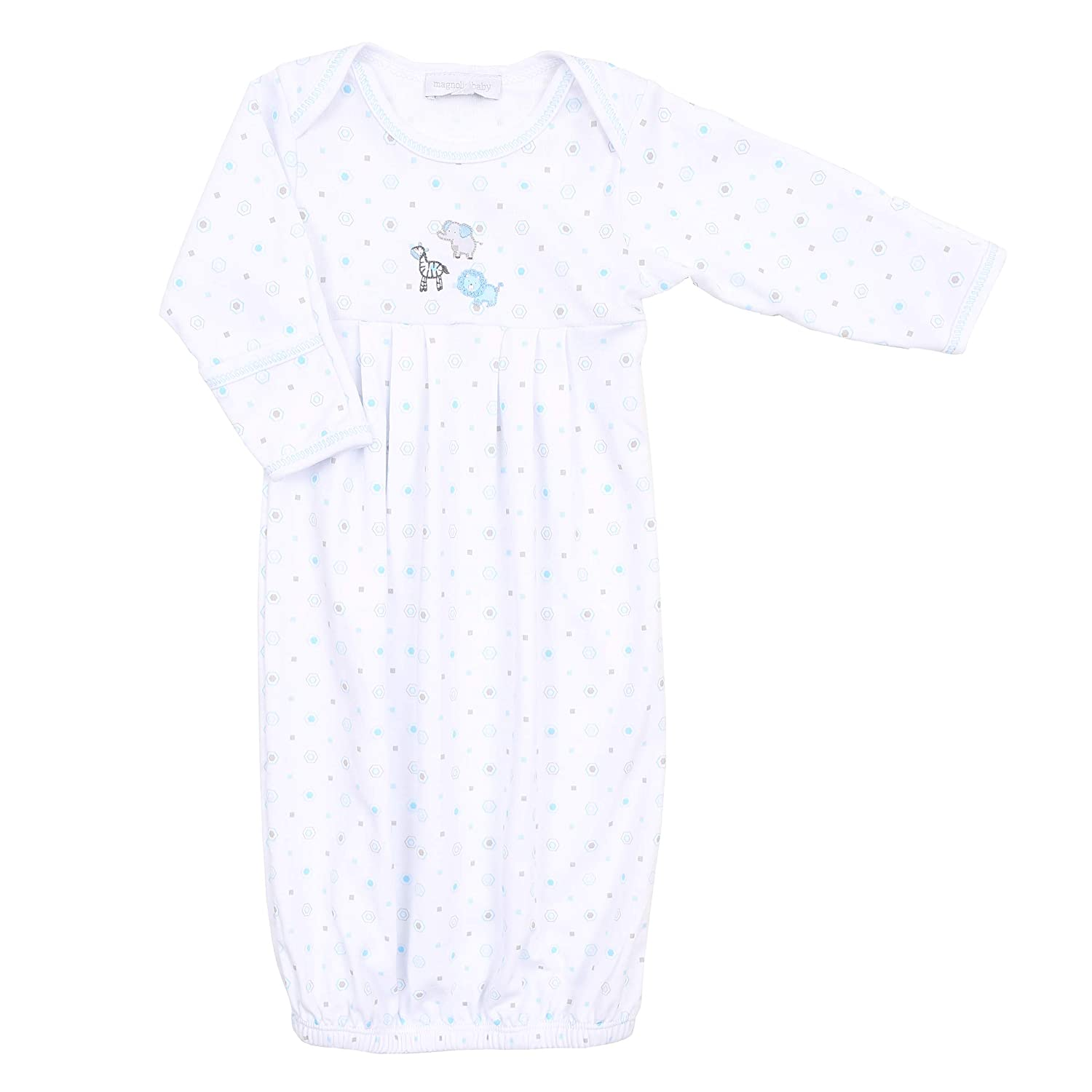 Magnolia Baby Baby Boy Safari Baby Embroidered Pleated Gown Blue