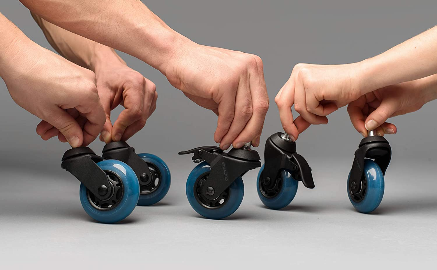 Quick /& Quiet Rolling Over The Cables with Brakes Blue Polyurethane STEALTHO Replacement Office Chair Caster Wheels Set of 5 IKEA Stem 3//8 Protect Your Floor No More Chair Mat Needed