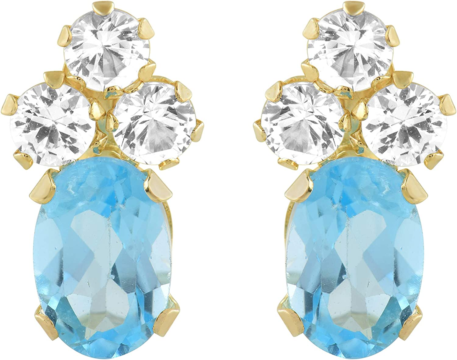 Jewelili 10K Yellow Gold Oval Sky Blue Topaz with Round Created White Sapphire Pendant Earrings Set