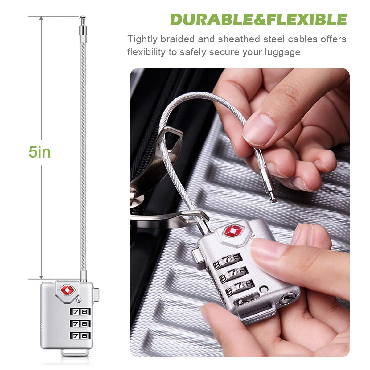 Suitcase KeeKit TSA Approved Luggage Lock 2 Pack TSA Lock for Travel Silver