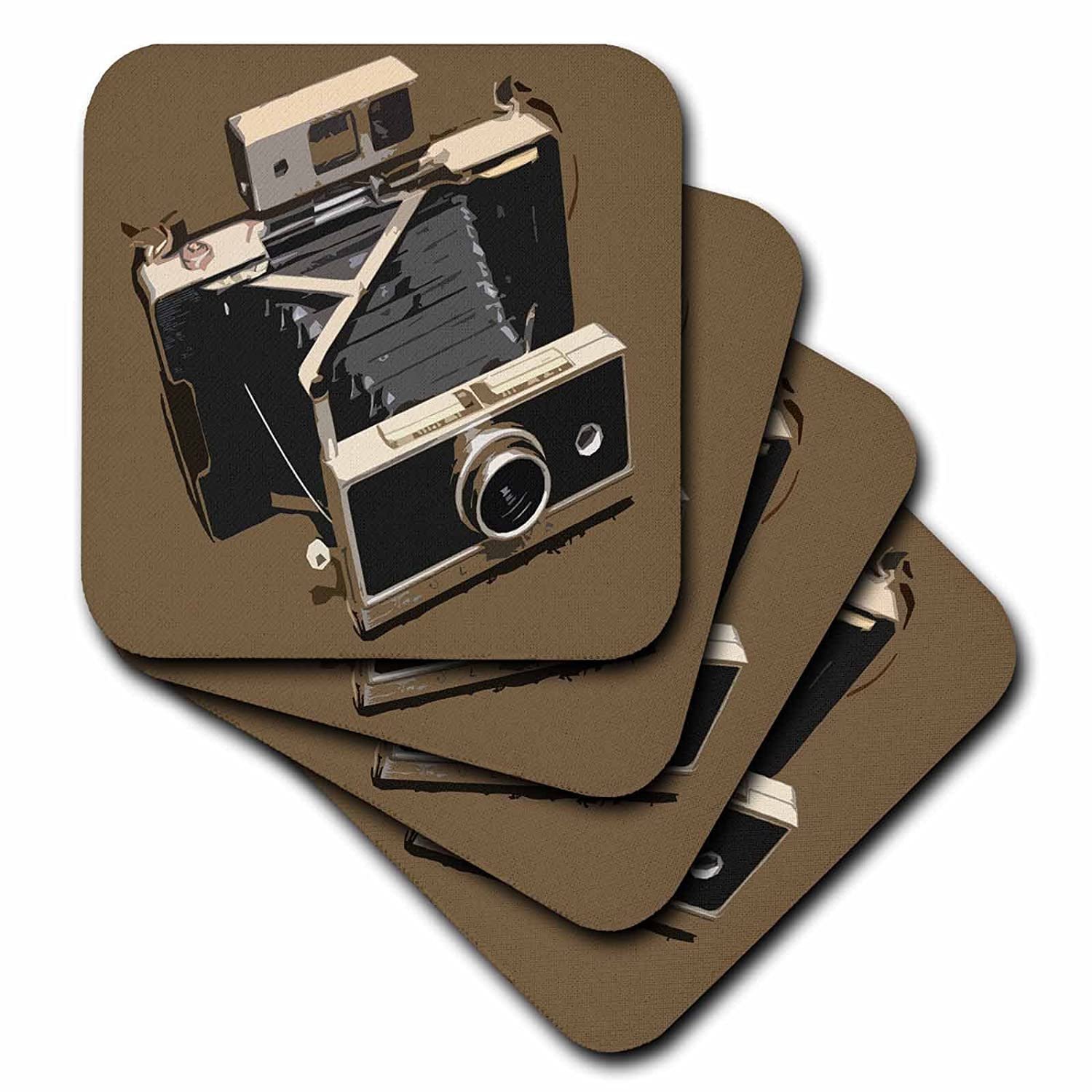3dRose cst/_20709/_3 Picture of a Old Vintage Classic Camera with Bellows Ceramic Tile Coasters Set of 4
