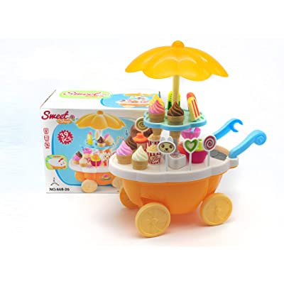 VERZABO Ice Cream Cart Food Truck Toy Toddler Toys Ice Cream Toy 39 Piece Play Ice Cream Set with Music Lights & Sound Pretend Play Ice Cream Toy Great Christmas Toy for Toddler Girl/Boy: Toys & Games [5Bkhe0307069]