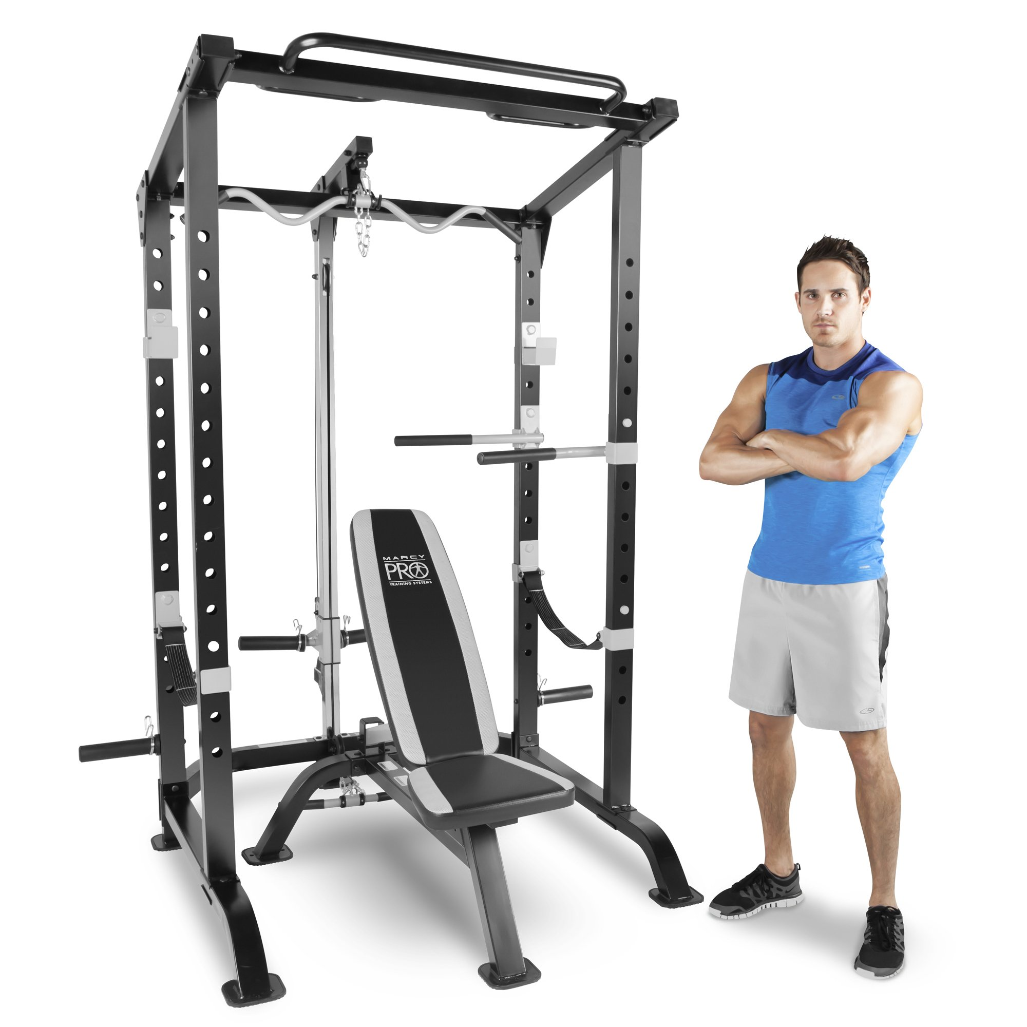 Marcy Pro Full Cage and Weight Bench Personal Home Gym Total Body Workout System by Marcy Fitness