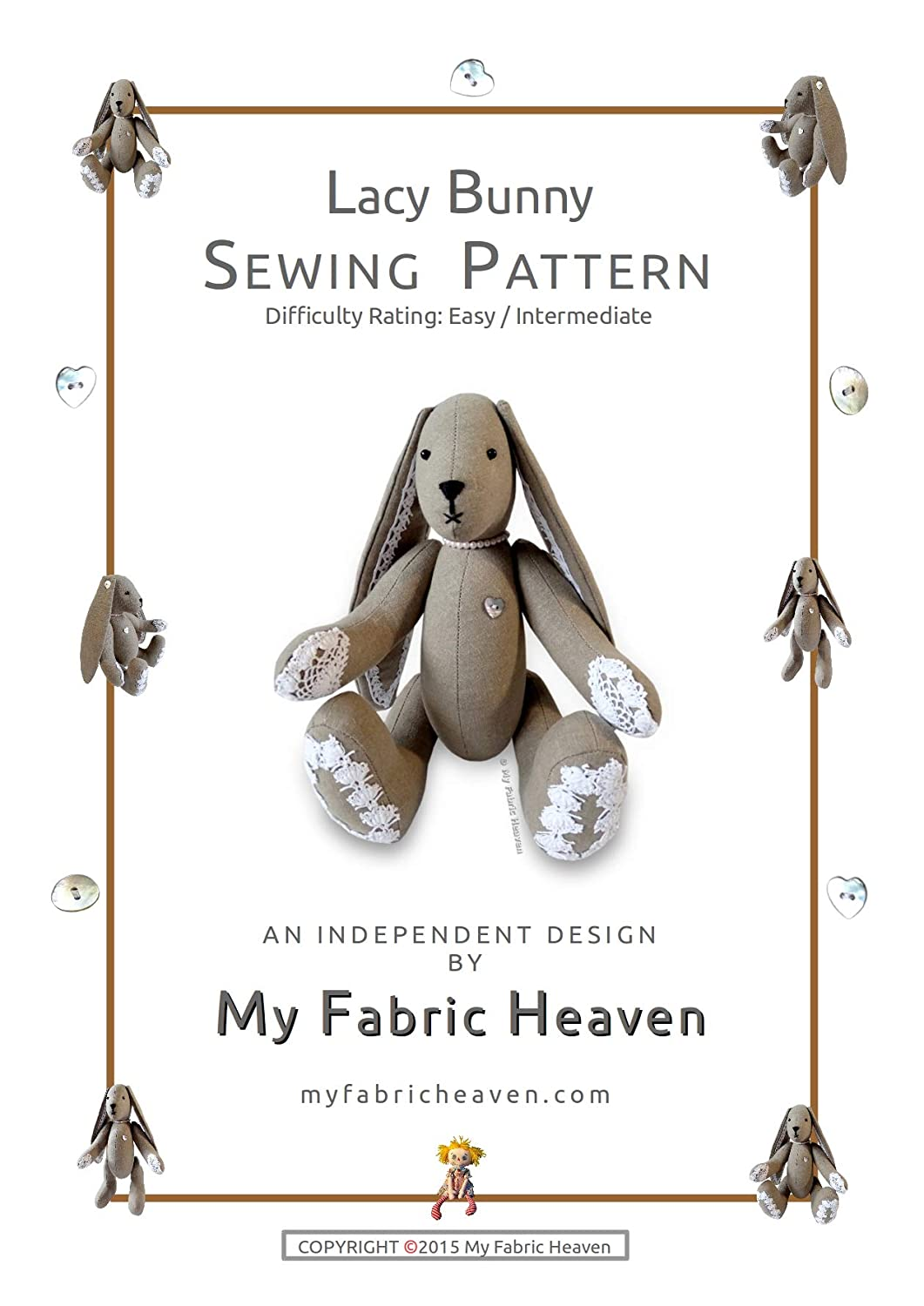 2 X Fabric Sewing PATTERNS Independent Design.11 Inch Bunny Rabbit ...