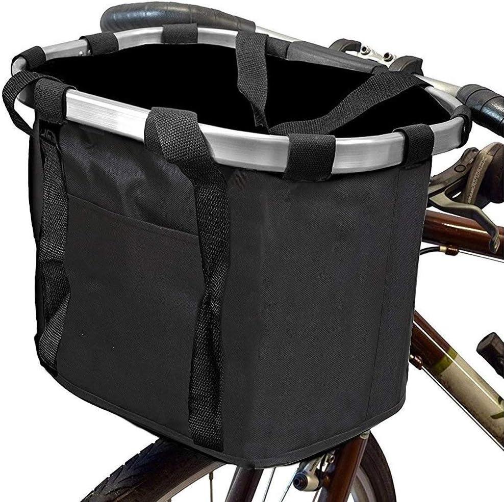 Equipo de Deporte Cesta delantera de bicicleta, cesta de manillar de bicicleta multiusos Plegable Organizador de cesta de bicicleta desmontable Marco de aluminio de metal Ciclismo desmontable Cesta de: Amazon.es: Deportes y