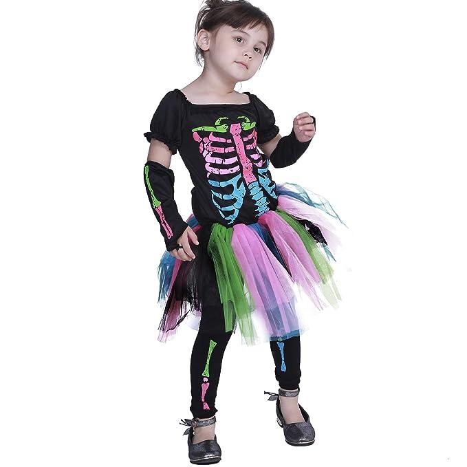 EraSpooky Scheletro Ragazze Costume con Ossa Halloween  Amazon.it ... 4d5e2fa65aa7