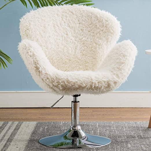 Amazon Com Comfy Home Office Chair With No Wheels Modern Faux Fur Swivel Desk Chair For Living Room Bedroom Vanity Faux Lamb Fur Ivory Kitchen Dining