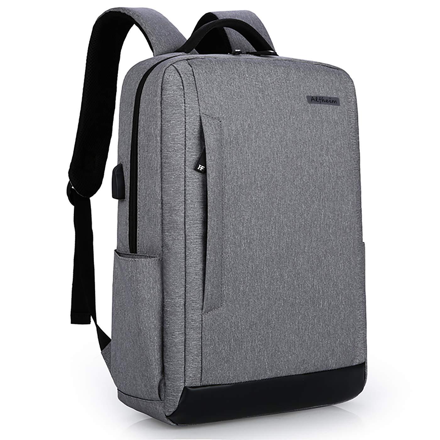 男性の女性のためのAlfheimラップトップバックパックは、学校作業用のUSBポートボトルホルダー付き15インチラップトップ、防水&多目的&軽量&アンチシーフノートブックバッグにフィット(垂直ジッパー、グレー) B07K69LPHR
