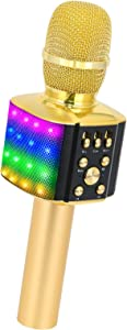BONAOK Wireless Bluetooth Karaoke Microphone with controllable LED Lights, 4 in 1 Portable Karaoke Machine Speaker for Android/iPhone/PC/Christmas (Gold)