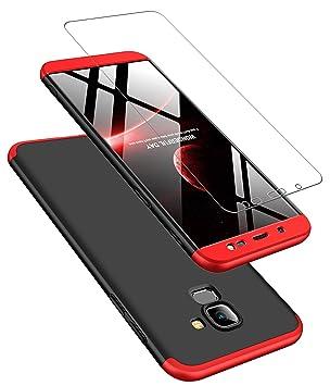 JOYTAG compatibles para Funda Samsung J6 2018 Carcasa +Protectora de película de Vidrio Templado 360 Grados Ultra Delgado 3 en 1 Case-Rojo Negro