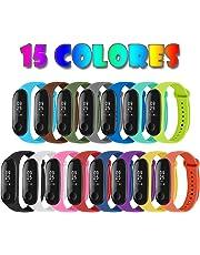 Migavan 15 Piezas Pulsera Mi Band 3 Correas Reloj Silicona Banda para Mi Band 3 Reemplazo - 15 Colores