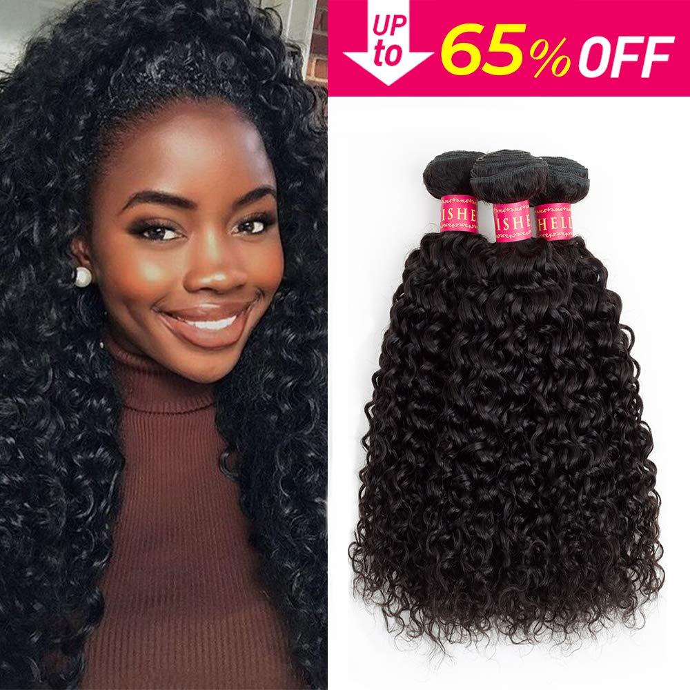 Sedittyhair Brazilian Curly Human Hair Bundles (14 16 18 Total 300g) Virgin Kinky Curly Hair Extensions Weave bundles 8A Unprocessed Human Hair 3 Bundles Natural Black Color