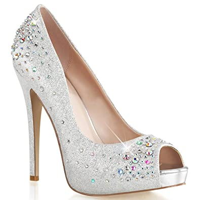 Amazon.com | Womens Sparkly Silver Peep Toe Pumps Shoes with 5 ...