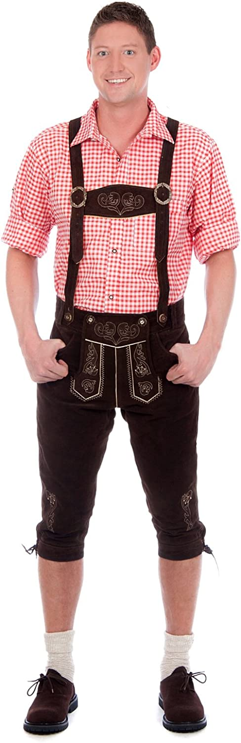 Edelnice Trachtenmoden Bavarian Traditional Leather Trousers Lederhosen with Suspenders Darkbrown