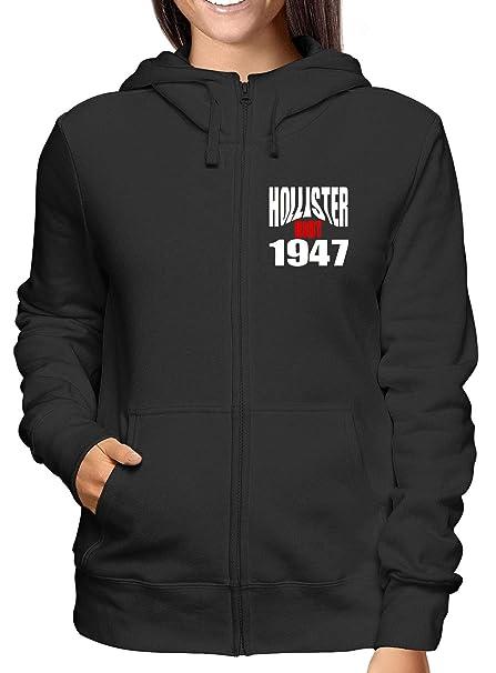 Sudadera con Capucha Zip para Las Mujeras Negro OLDENG00523 Hollister Riot 1947: Amazon.es: Ropa y accesorios