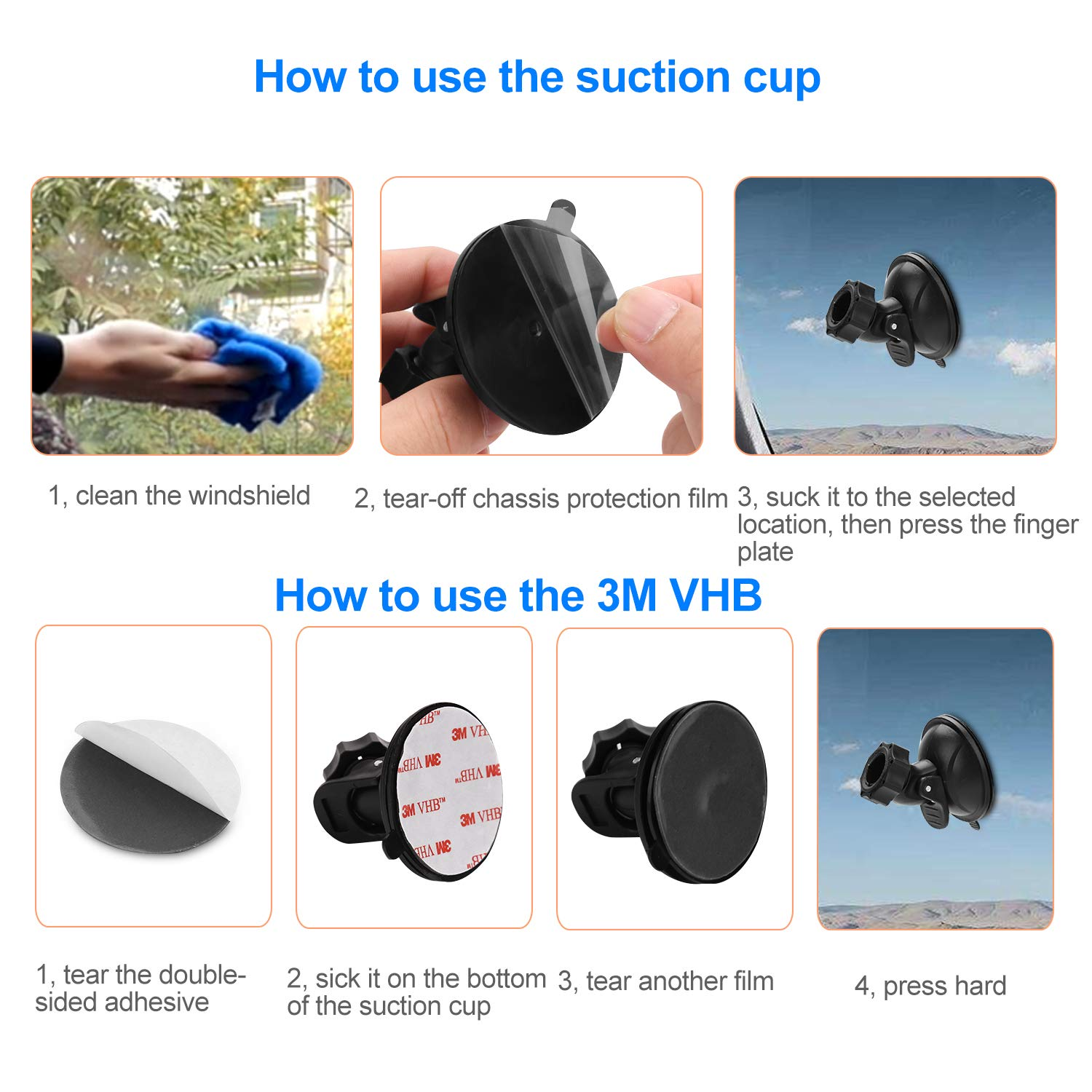 YI 2.7 Z-Edge Z3 3 and Most Other Dash Cam Dry and Wet 3 Wipes with 16 Different Points for AUKEY TOGUARD APEMAN Dash Cam Suction Cup Mount Crosstour 3 x Glue Double Sided Adhesive Tapes