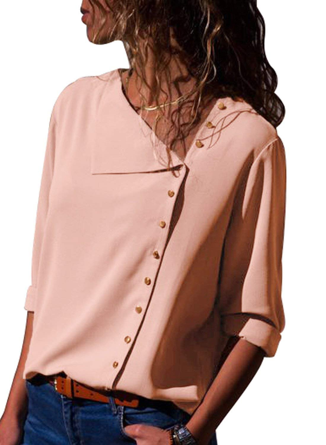 Jeazi Womens Long Sleeve Button Detail Loose Fitting Chiffon Casual Blouse Solid Tops Pink L