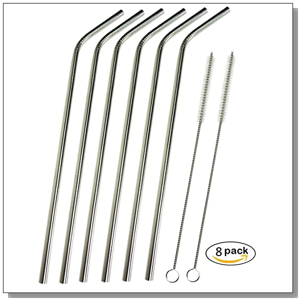 CJHFAMILY 6 Extra Long Stainless Steel Drinking Straws ( 9.75