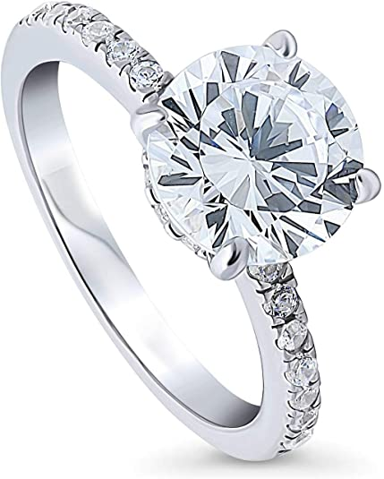 BERRICLE Rhodium Plated Sterling Silver Oval Cut Cubic Zirconia CZ Statement Halo Art Deco Cluster Engagement Ring 1.56 CTW
