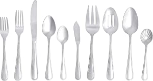 AmazonBasics 65-Piece Stainless Steel Crown Flatware Set, Service for 12
