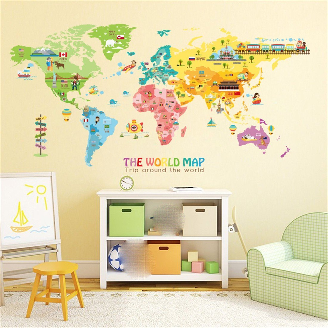 Amazon.com: Stazsx colorful world map wall stickers wall decoration ...