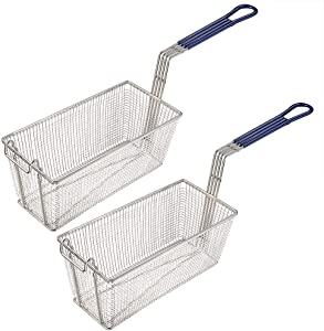 "Set of 2, WeChef 13 1/4"" x 6 1/2"" x 6"" Rectangular Wire Fry Basket with Handle Commercial Restaurant Kitchen Deep Fryer"