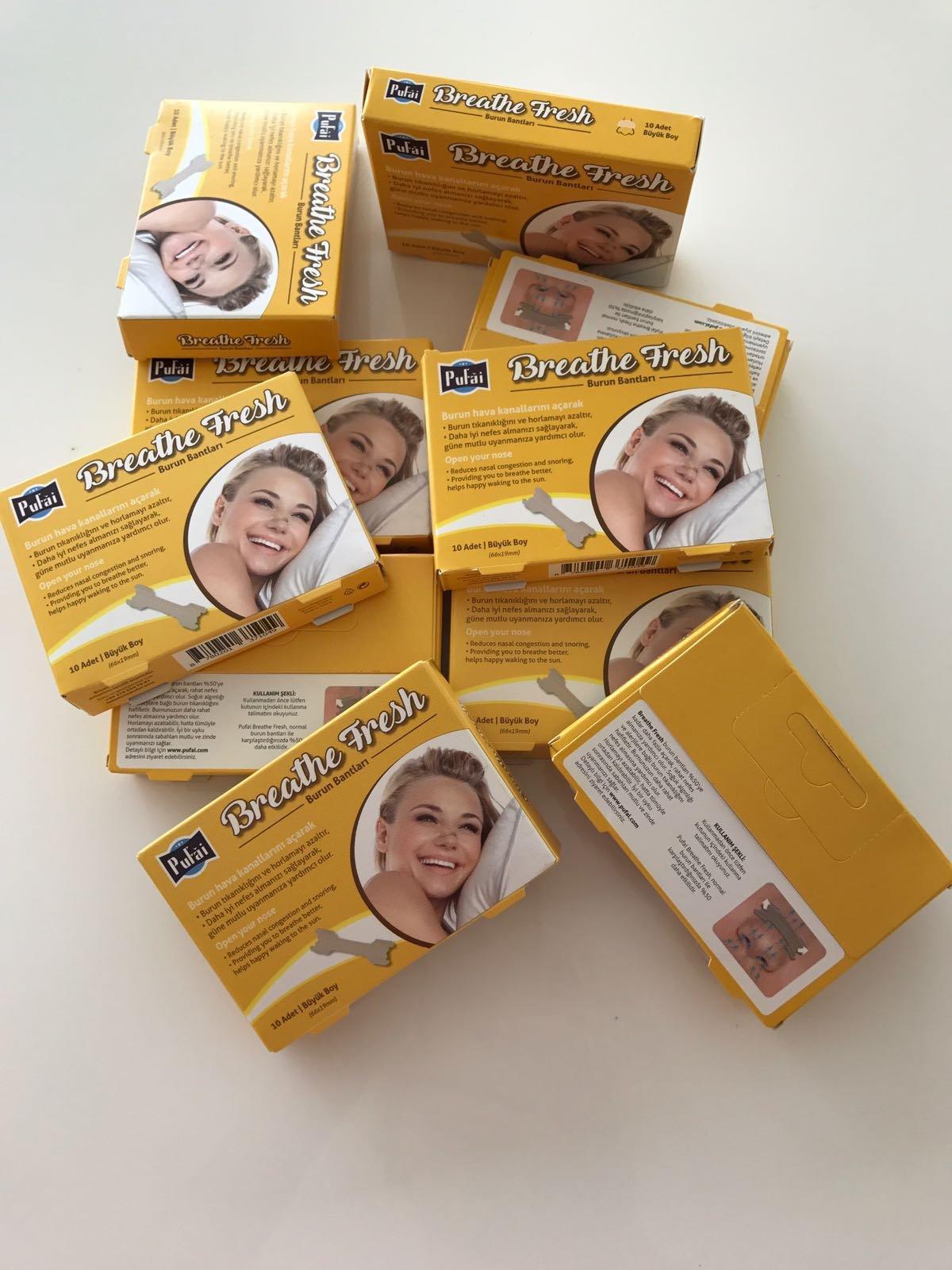 Pufai Breathe Fresh Nasal Strips Large Size 66x19 mm , 500 Pieces ( 50 Box * 10 Pcs ) Large Size Nasal Strips by Pufai by Pufai